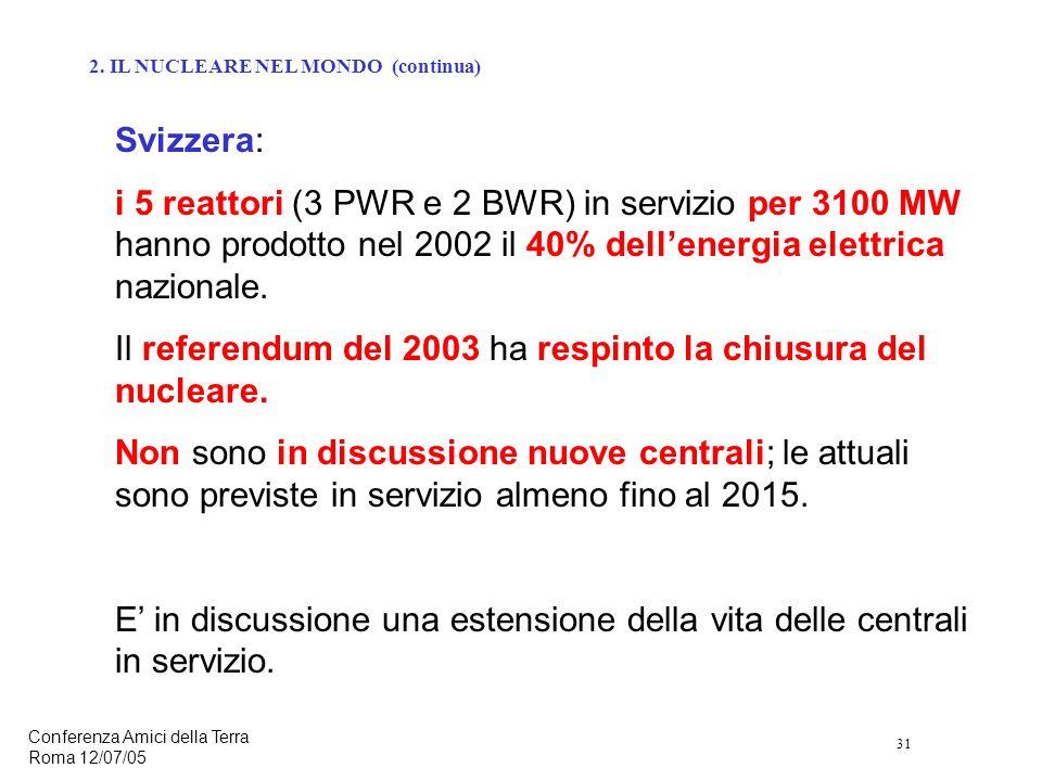 31 Conferenza Amici della Terra Roma 12/07/05 Svizzera: i 5 reattori (3 PWR e 2 BWR) in servizio per 3100 MW hanno prodotto nel 2002 il 40% dellenergia elettrica nazionale.