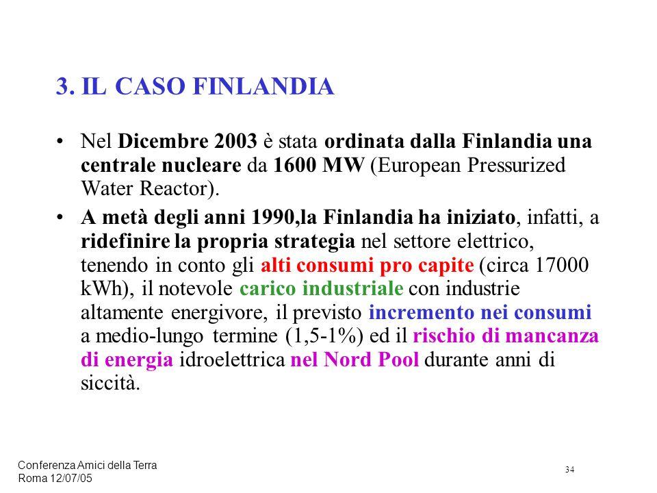 34 Conferenza Amici della Terra Roma 12/07/05 Nel Dicembre 2003 è stata ordinata dalla Finlandia una centrale nucleare da 1600 MW (European Pressurized Water Reactor).