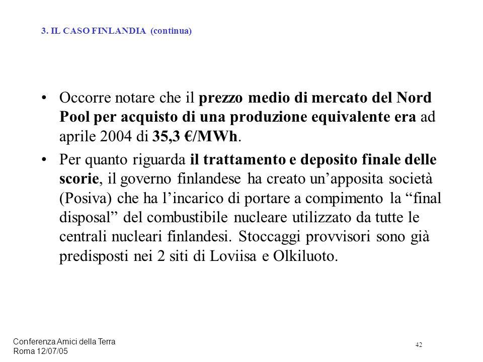 42 Conferenza Amici della Terra Roma 12/07/05 Occorre notare che il prezzo medio di mercato del Nord Pool per acquisto di una produzione equivalente era ad aprile 2004 di 35,3 /MWh.