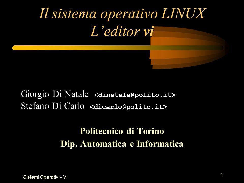 Sistemi Operativi - Vi 2 Riferimenti www.vim.org Download: http://www.vim.org/download.phphttp://www.vim.org/download.php Documentation: http://www.vim.org/docs.phphttp://www.vim.org/docs.php PDF Text book: VimBook-OPL (Steve Qualline) vi –help On-line help: comando :h