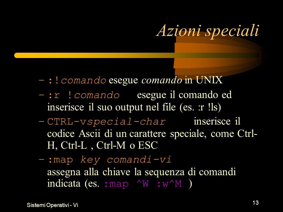 Sistemi Operativi - Vi 13 Azioni speciali –:!comando esegue comando in UNIX –:r !comando esegue il comando ed inserisce il suo output nel file (es.