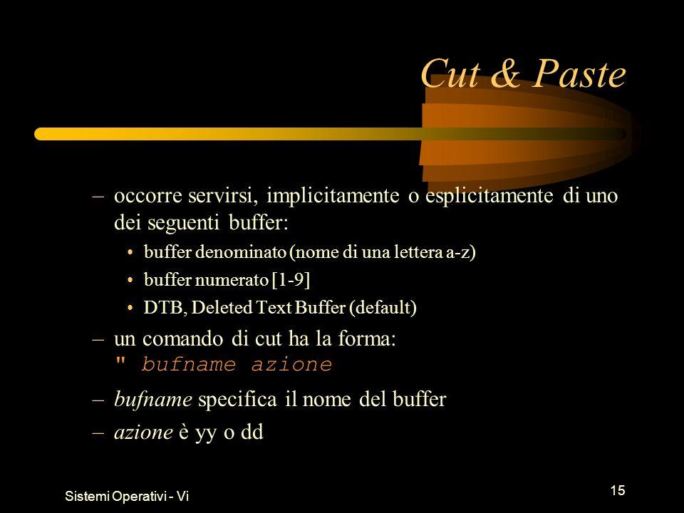 Sistemi Operativi - Vi 15 Cut & Paste –occorre servirsi, implicitamente o esplicitamente di uno dei seguenti buffer: buffer denominato (nome di una lettera a-z) buffer numerato [1-9] DTB, Deleted Text Buffer (default) –un comando di cut ha la forma: bufname azione –bufname specifica il nome del buffer –azione è yy o dd