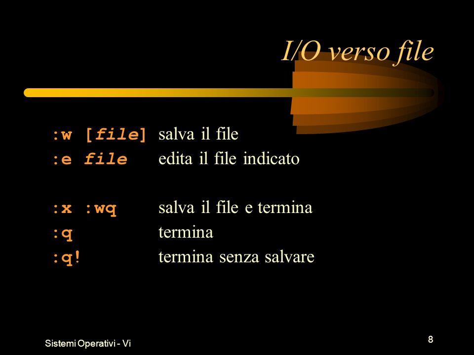 Sistemi Operativi - Vi 8 I/O verso file :w [file] salva il file :e file edita il file indicato :x :wq salva il file e termina :q termina :q.