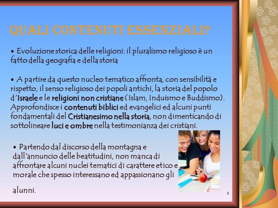 8 Quali contenuti essenziali? Evoluzione storica delle religioni: il pluralismo religioso è un fatto della geografia e della storia Israelereligioni n