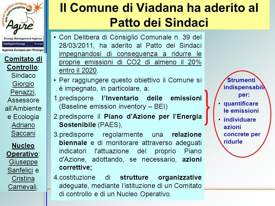 Il Comune di Viadana ha aderito al Patto dei Sindaci Con Delibera di Consiglio Comunale n. 39 del 28/03/2011, ha aderito al Patto dei Sindaci impegnan