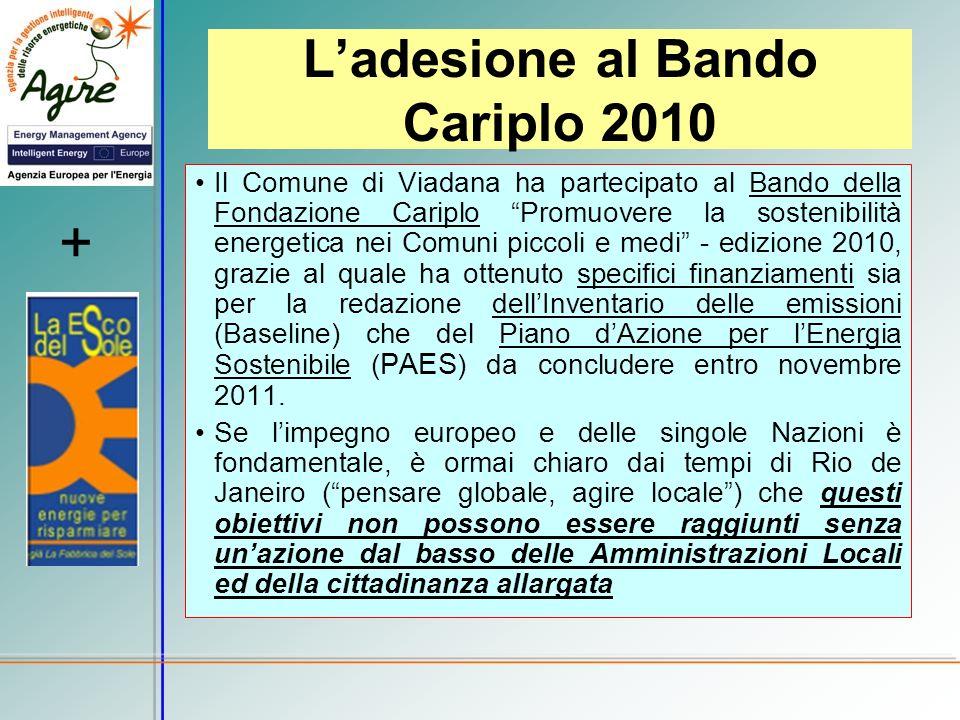 Ladesione al Bando Cariplo 2010 Il Comune di Viadana ha partecipato al Bando della Fondazione Cariplo Promuovere la sostenibilità energetica nei Comun