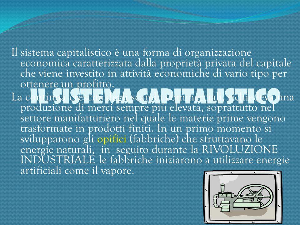 IL SISTEMA CAPITALISTICO I l sistema capitalistico è una forma di organizzazione economica caratterizzata dalla proprietà privata del capitale che vie