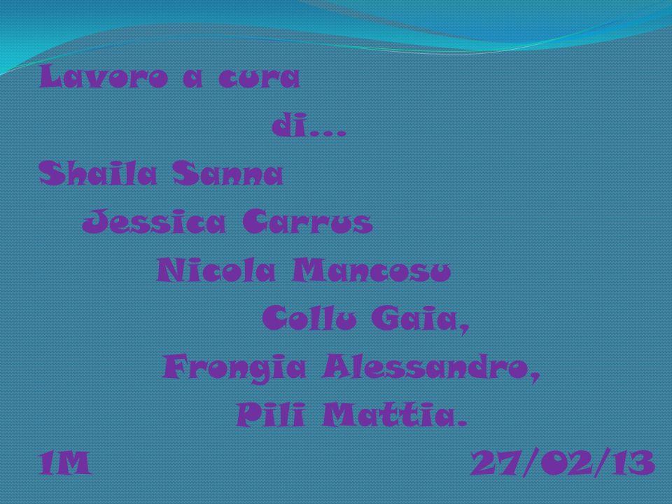 Lavoro a cura di… Shaila Sanna Jessica Carrus Nicola Mancosu Collu Gaia, Frongia Alessandro, Pili Mattia. 1M 27/02/13