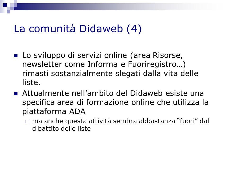 La comunità Didaweb (4) Lo sviluppo di servizi online (area Risorse, newsletter come Informa e Fuoriregistro…) rimasti sostanzialmente slegati dalla vita delle liste.