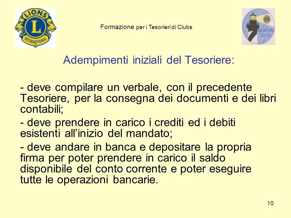 10 Adempimenti iniziali del Tesoriere: - deve compilare un verbale, con il precedente Tesoriere, per la consegna dei documenti e dei libri contabili;