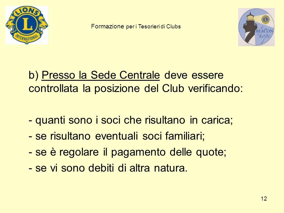 12 b) Presso la Sede Centrale deve essere controllata la posizione del Club verificando: - quanti sono i soci che risultano in carica; - se risultano