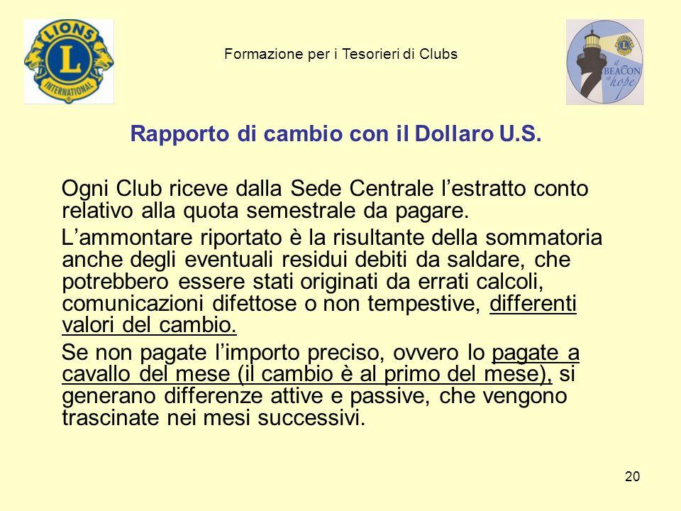 20 Rapporto di cambio con il Dollaro U.S. Ogni Club riceve dalla Sede Centrale lestratto conto relativo alla quota semestrale da pagare. Lammontare ri