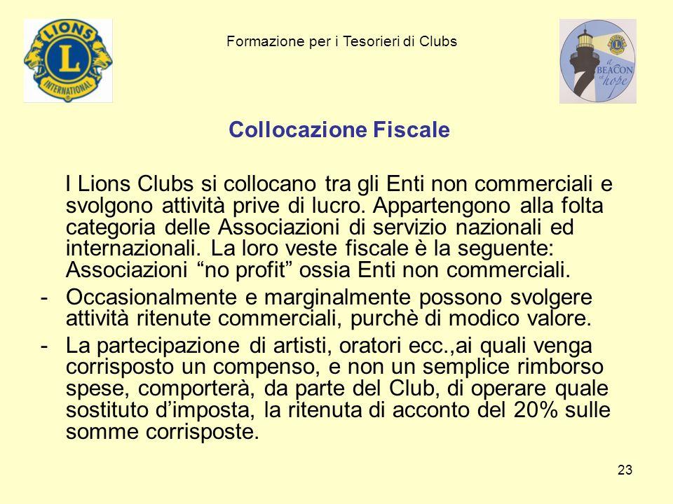 23 Collocazione Fiscale I Lions Clubs si collocano tra gli Enti non commerciali e svolgono attività prive di lucro. Appartengono alla folta categoria