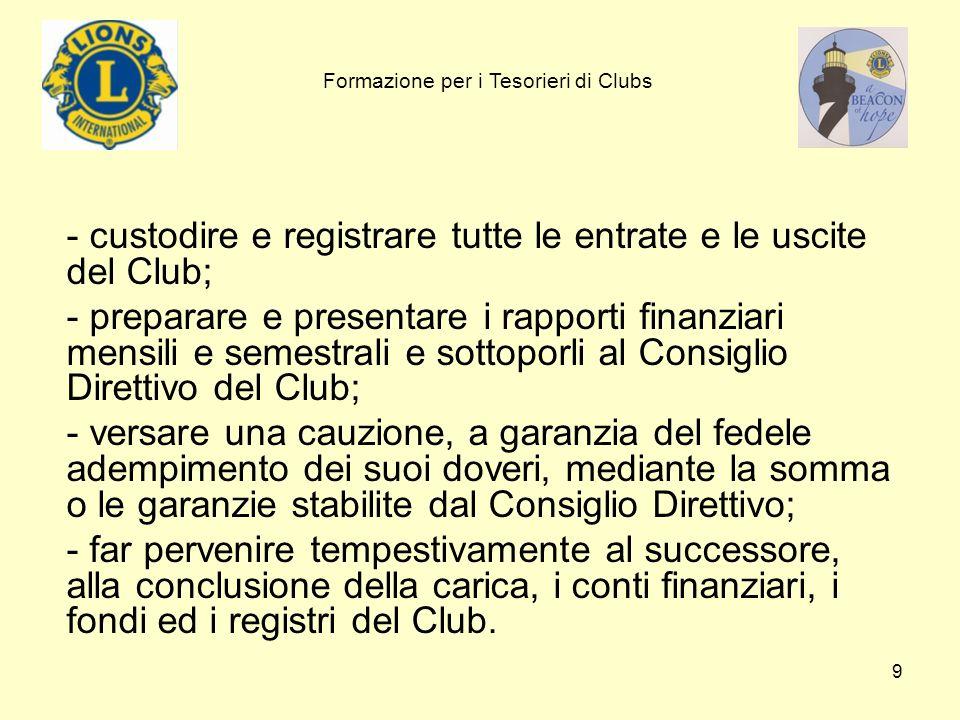 9 - custodire e registrare tutte le entrate e le uscite del Club; - preparare e presentare i rapporti finanziari mensili e semestrali e sottoporli al