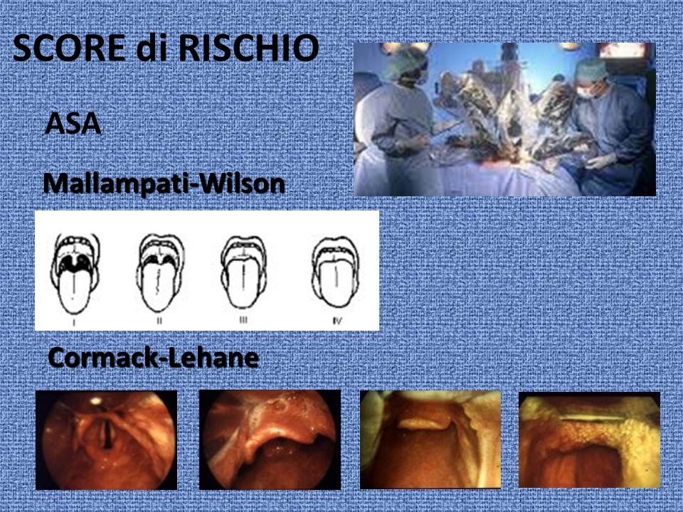 SCORE di RISCHIO ASA Cormack-Lehane Mallampati-Wilson