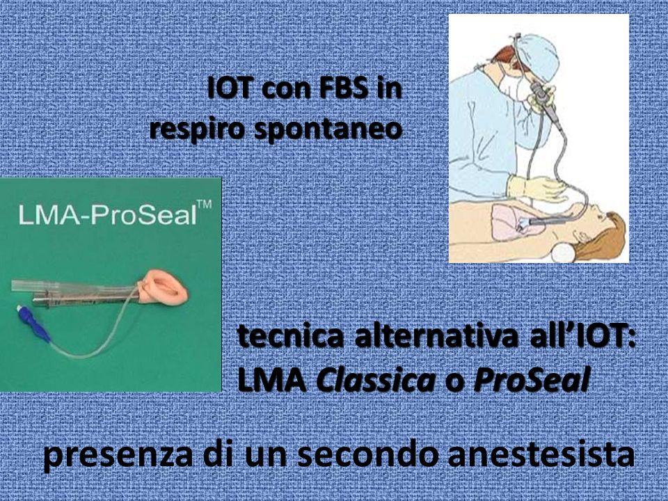 presenza di un secondo anestesista IOT con FBS in respiro spontaneo tecnica alternativa allIOT: LMA Classica o ProSeal