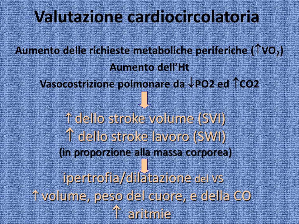 Valutazione cardiocircolatoria Aumento delle richieste metaboliche periferiche ( VO 2 ) Aumento dellHt Vasocostrizione polmonare da PO2 ed CO2 dello s