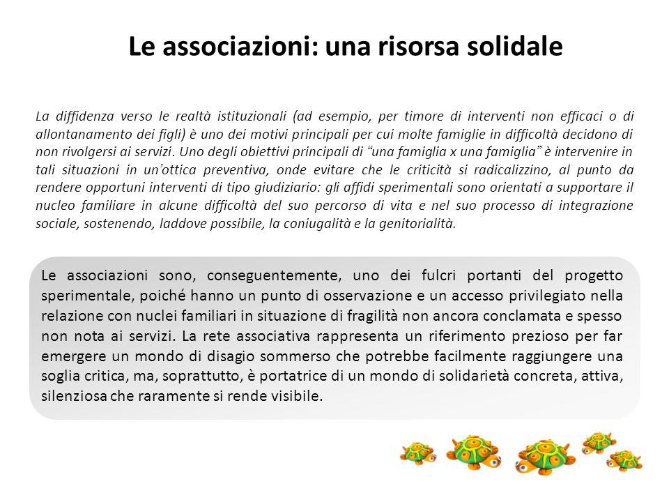 Le associazioni: una risorsa solidale La diffidenza verso le realtà istituzionali (ad esempio, per timore di interventi non efficaci o di allontanamen