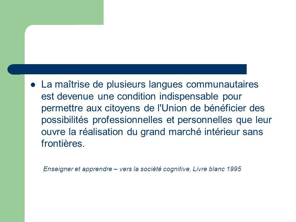 La maîtrise de plusieurs langues communautaires est devenue une condition indispensable pour permettre aux citoyens de l'Union de bénéficier des possi