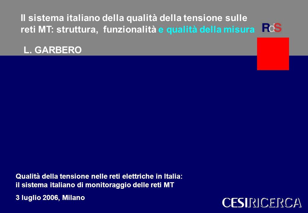 L. Garbero CESI 1 Modelli per gli scenari del sistema elettrico italianoWalter Grattieri Il sistema italiano della qualità della tensione sulle reti M