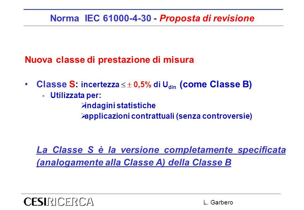L. Garbero Norma IEC 61000-4-30 - Proposta di revisione Nuova classe di prestazione di misura Classe S: incertezza 0,5% di U din (come Classe B) -Util