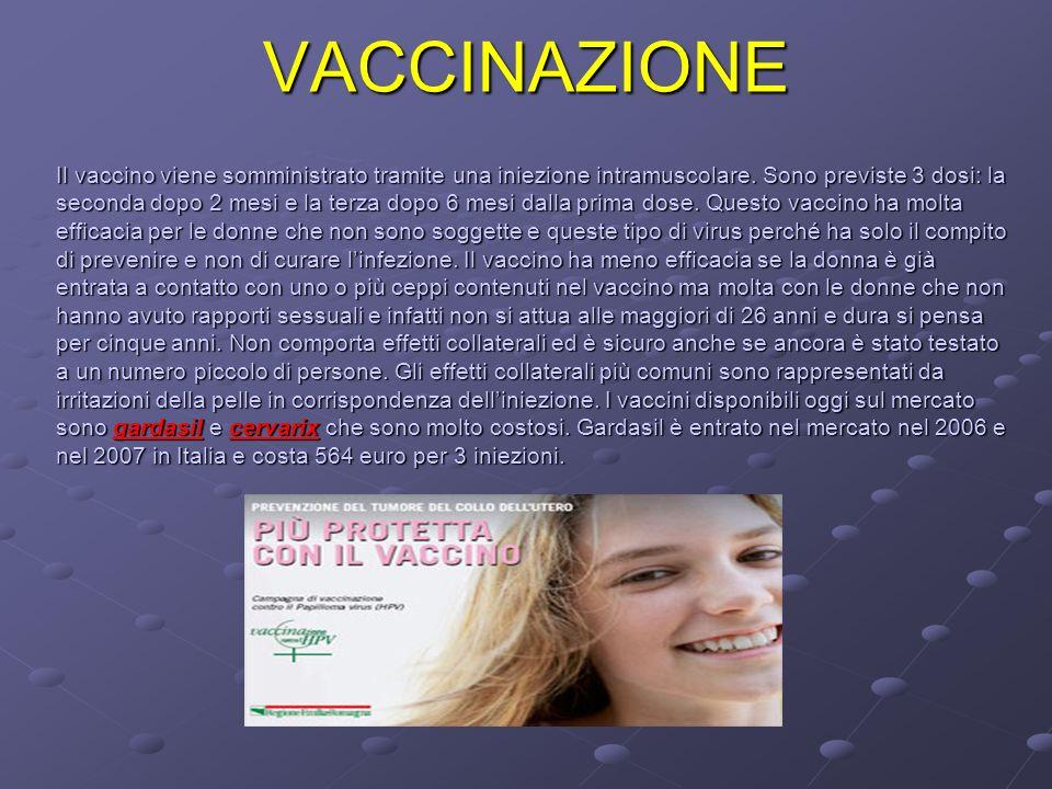 VACCINAZIONE Il vaccino viene somministrato tramite una iniezione intramuscolare. Sono previste 3 dosi: la seconda dopo 2 mesi e la terza dopo 6 mesi