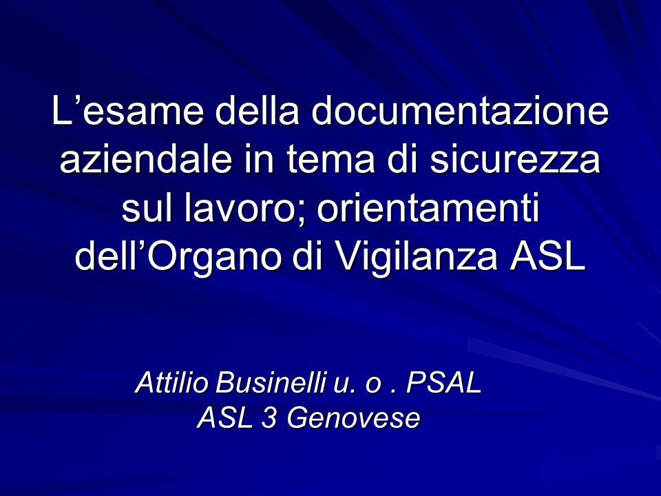 Lesame della documentazione aziendale in tema di sicurezza sul lavoro; orientamenti dellOrgano di Vigilanza ASL Attilio Businelli u. o. PSAL ASL 3 Gen