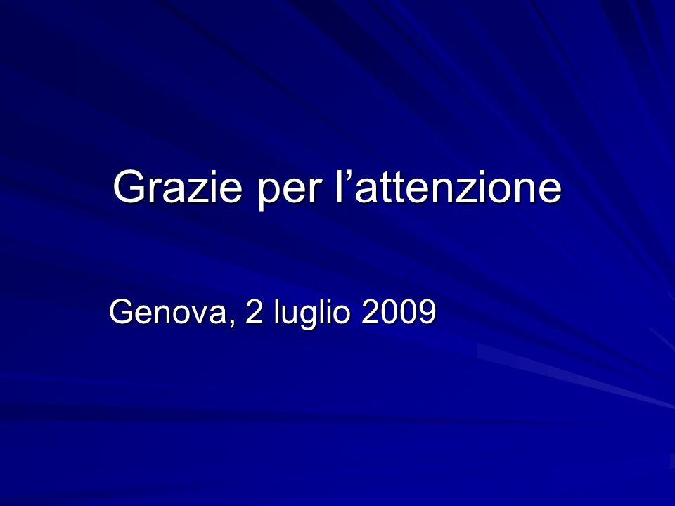 Grazie per lattenzione Genova, 2 luglio 2009