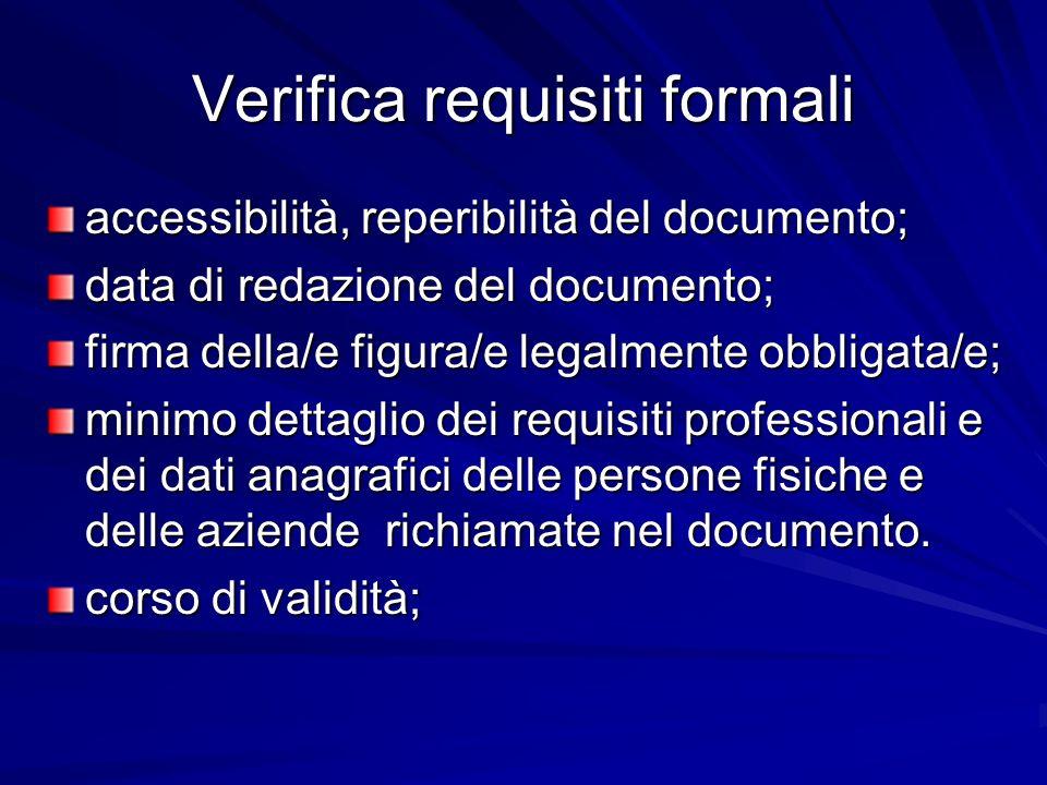 Verifica requisiti formali accessibilità, reperibilità del documento; data di redazione del documento; firma della/e figura/e legalmente obbligata/e;