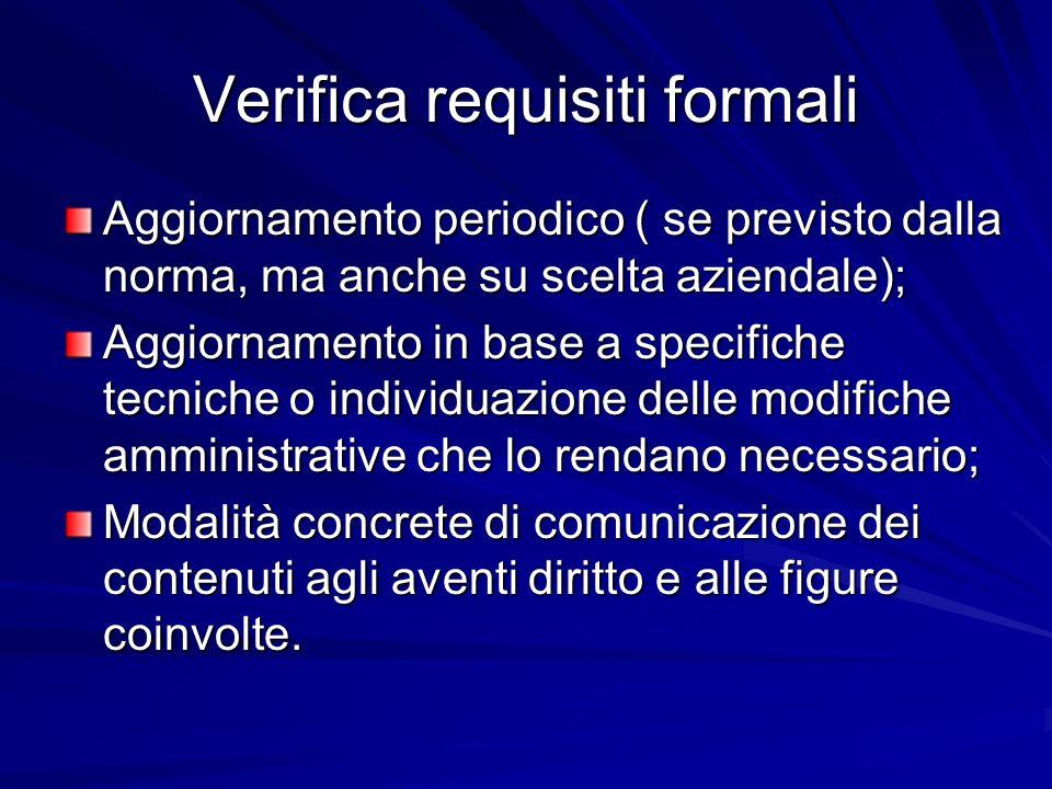 Verifica requisiti formali Aggiornamento periodico ( se previsto dalla norma, ma anche su scelta aziendale); Aggiornamento in base a specifiche tecnic