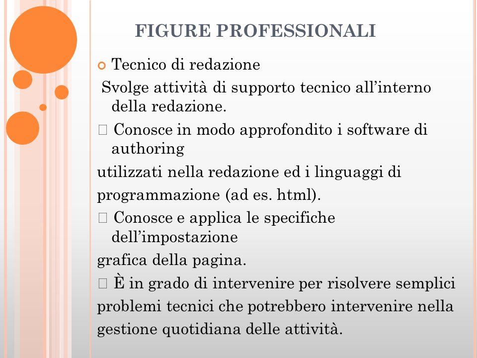 FIGURE PROFESSIONALI Tecnico di redazione Svolge attività di supporto tecnico allinterno della redazione.
