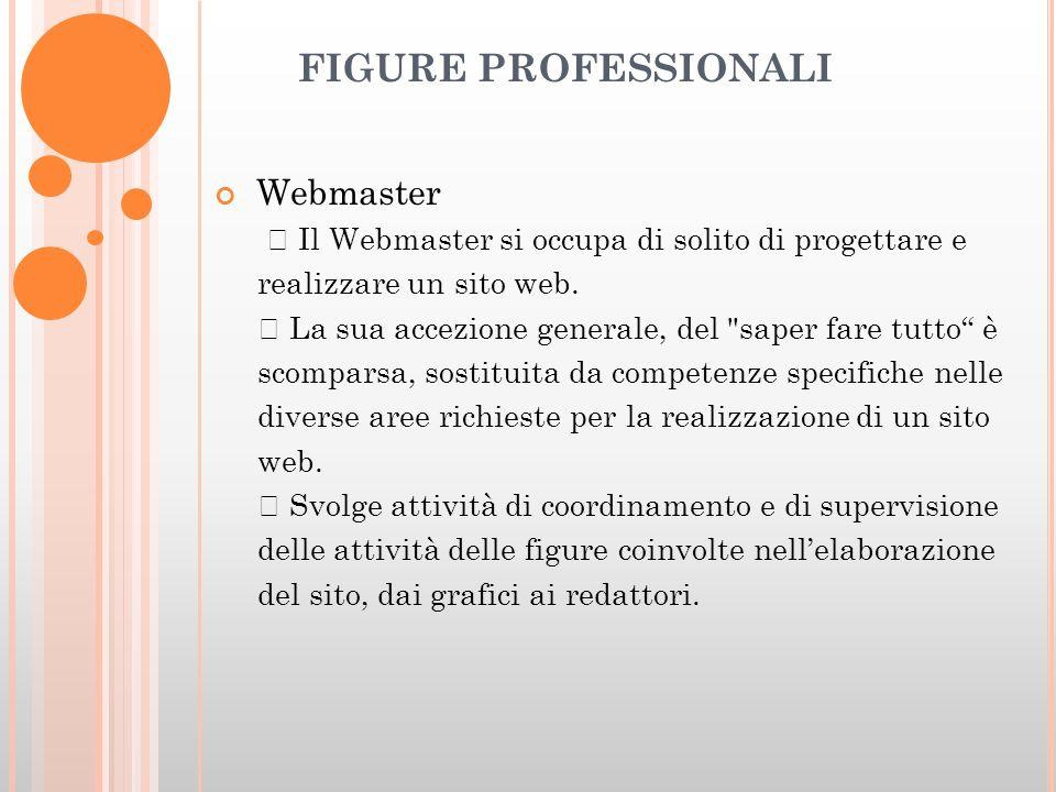 FIGURE PROFESSIONALI Webmaster Il Webmaster si occupa di solito di progettare e realizzare un sito web.