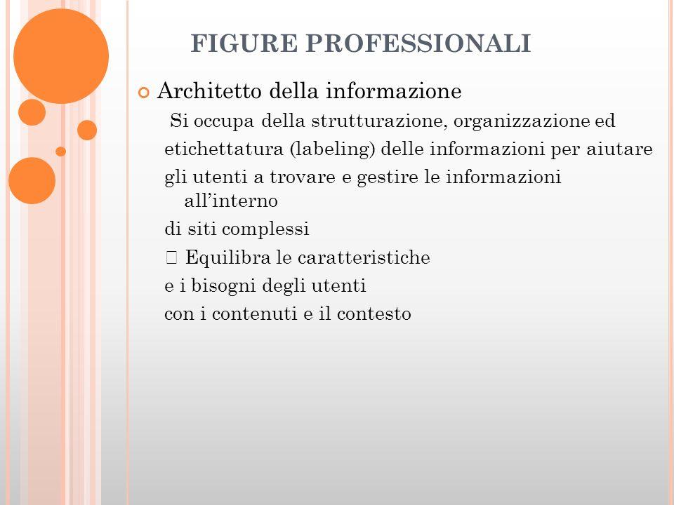 FIGURE PROFESSIONALI Architetto della informazione Si occupa della strutturazione, organizzazione ed etichettatura (labeling) delle informazioni per aiutare gli utenti a trovare e gestire le informazioni allinterno di siti complessi Equilibra le caratteristiche e i bisogni degli utenti con i contenuti e il contesto