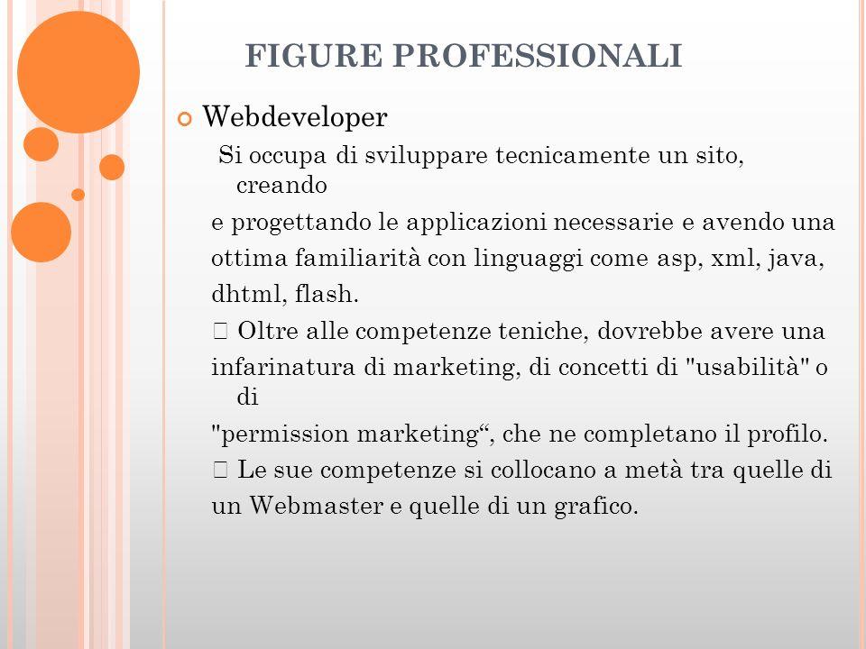 FIGURE PROFESSIONALI Webdeveloper Si occupa di sviluppare tecnicamente un sito, creando e progettando le applicazioni necessarie e avendo una ottima familiarità con linguaggi come asp, xml, java, dhtml, flash.
