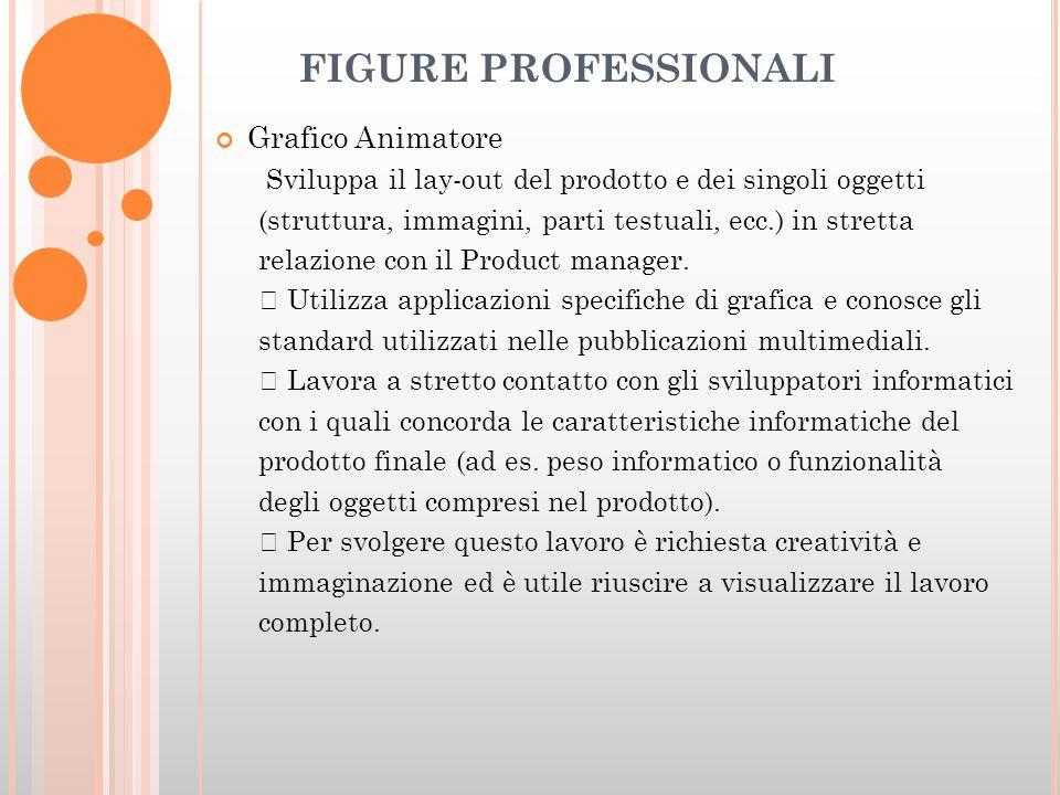 FIGURE PROFESSIONALI Grafico Animatore Sviluppa il lay-out del prodotto e dei singoli oggetti (struttura, immagini, parti testuali, ecc.) in stretta relazione con il Product manager.