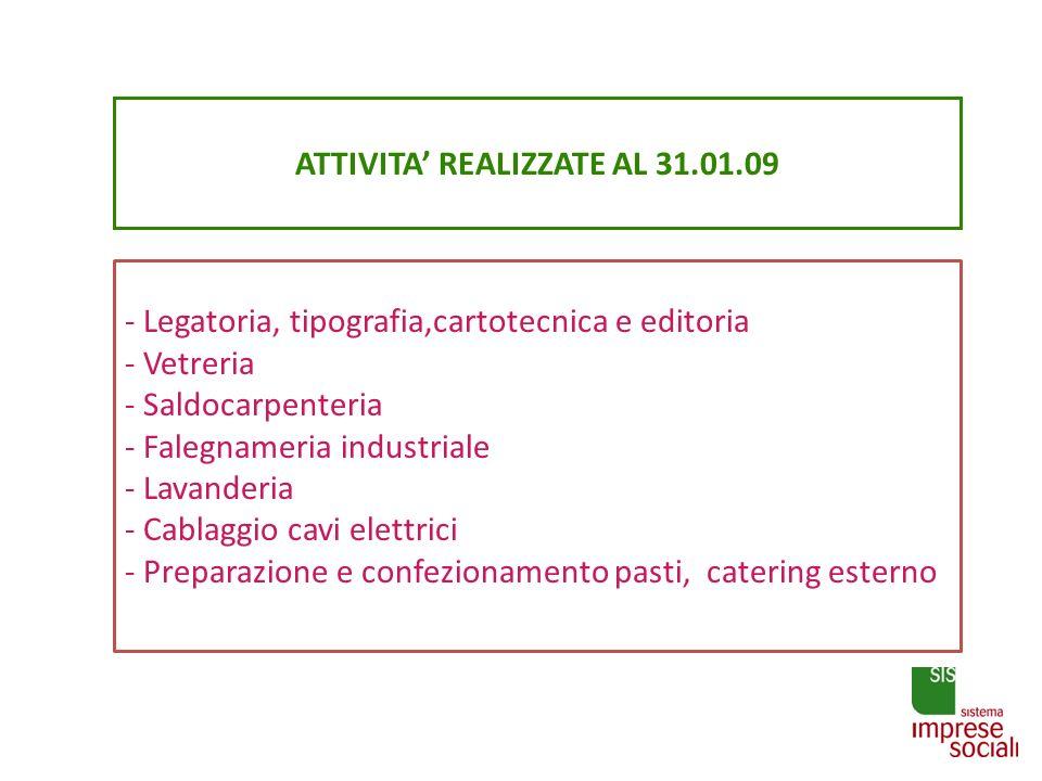 ATTIVITA REALIZZATE AL 31.01.09 - Legatoria, tipografia,cartotecnica e editoria - Vetreria - Saldocarpenteria - Falegnameria industriale - Lavanderia
