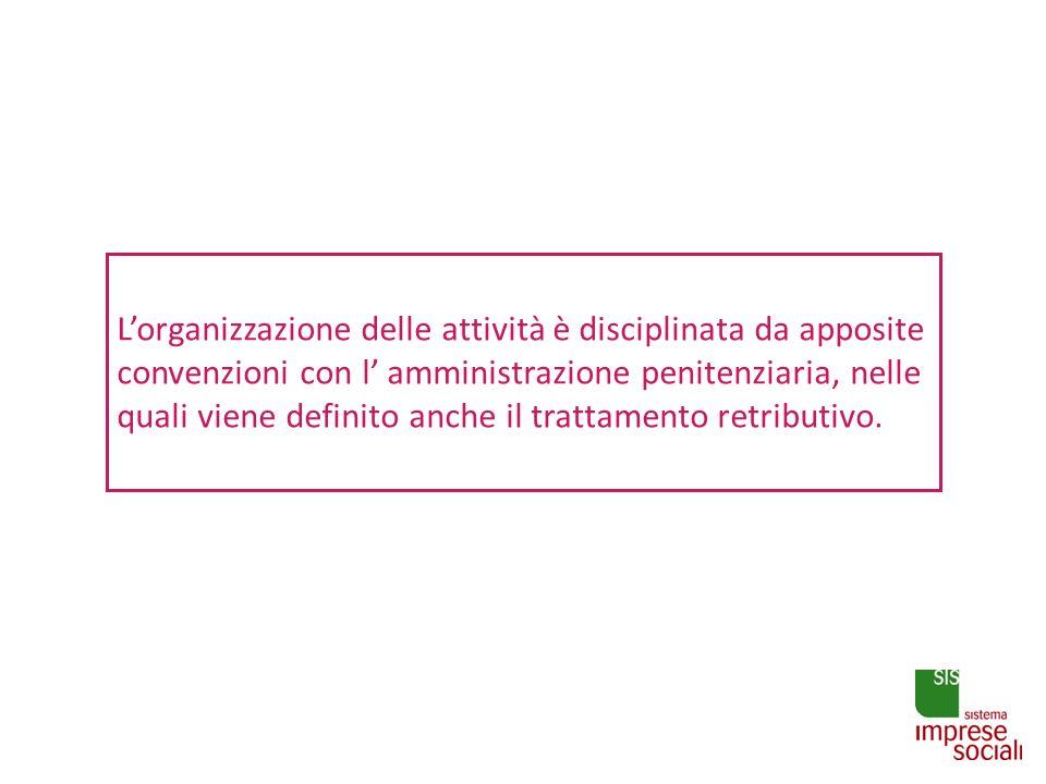 Lorganizzazione delle attività è disciplinata da apposite convenzioni con l amministrazione penitenziaria, nelle quali viene definito anche il trattam