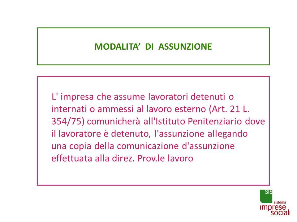 MODALITA DI ASSUNZIONE L' impresa che assume lavoratori detenuti o internati o ammessi al lavoro esterno (Art. 21 L. 354/75) comunicherà all'Istituto