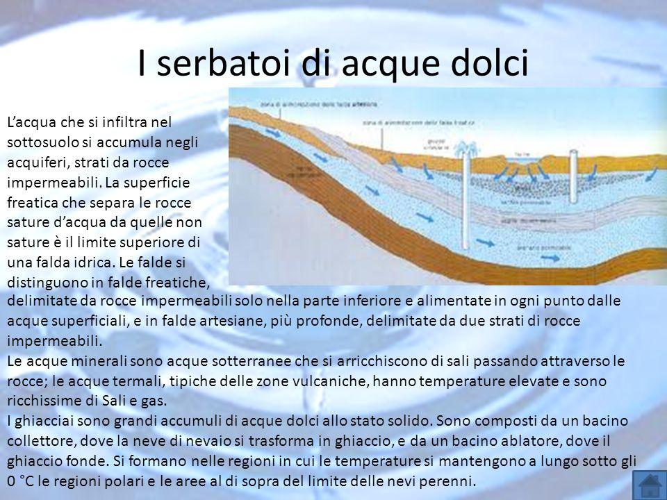 I serbatoi di acque dolci Lacqua che si infiltra nel sottosuolo si accumula negli acquiferi, strati da rocce impermeabili. La superficie freatica che