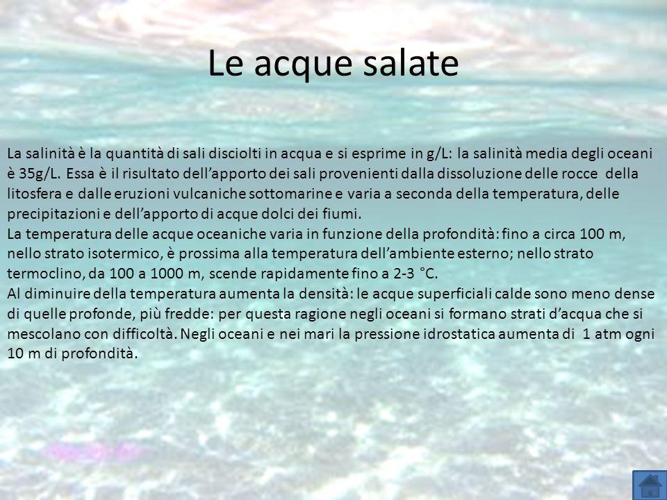 Le acque salate La salinità è la quantità di sali disciolti in acqua e si esprime in g/L: la salinità media degli oceani è 35g/L. Essa è il risultato