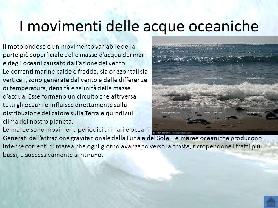I movimenti delle acque oceaniche Il moto ondoso è un movimento variabile della parte più superficiale delle masse dacqua dei mari e degli oceani caus