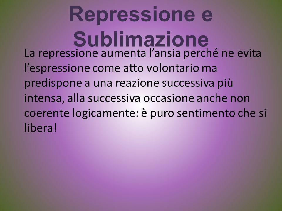 Repressione e Sublimazione La repressione aumenta lansia perché ne evita lespressione come atto volontario ma predispone a una reazione successiva più