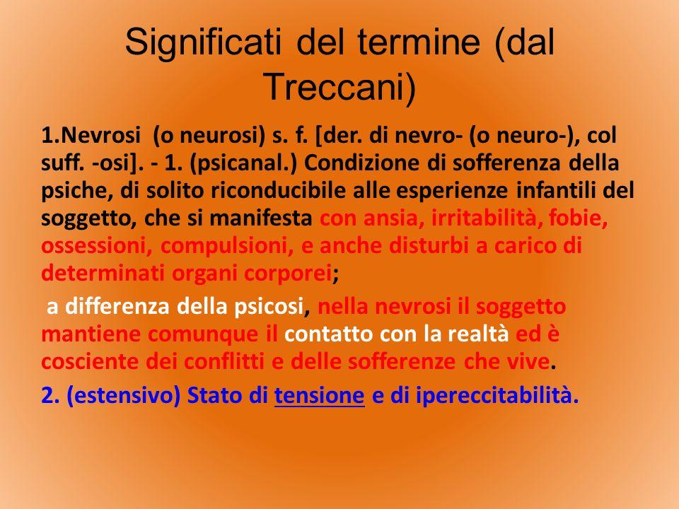 Significati del termine (dal Treccani) 1.Nevrosi (o neurosi) s. f. [der. di nevro- (o neuro-), col suff. -osi]. - 1. (psicanal.) Condizione di soffere