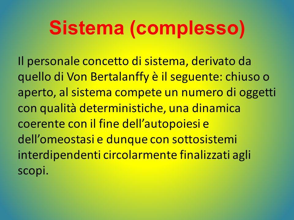 Sistema (complesso) Il personale concetto di sistema, derivato da quello di Von Bertalanffy è il seguente: chiuso o aperto, al sistema compete un nume