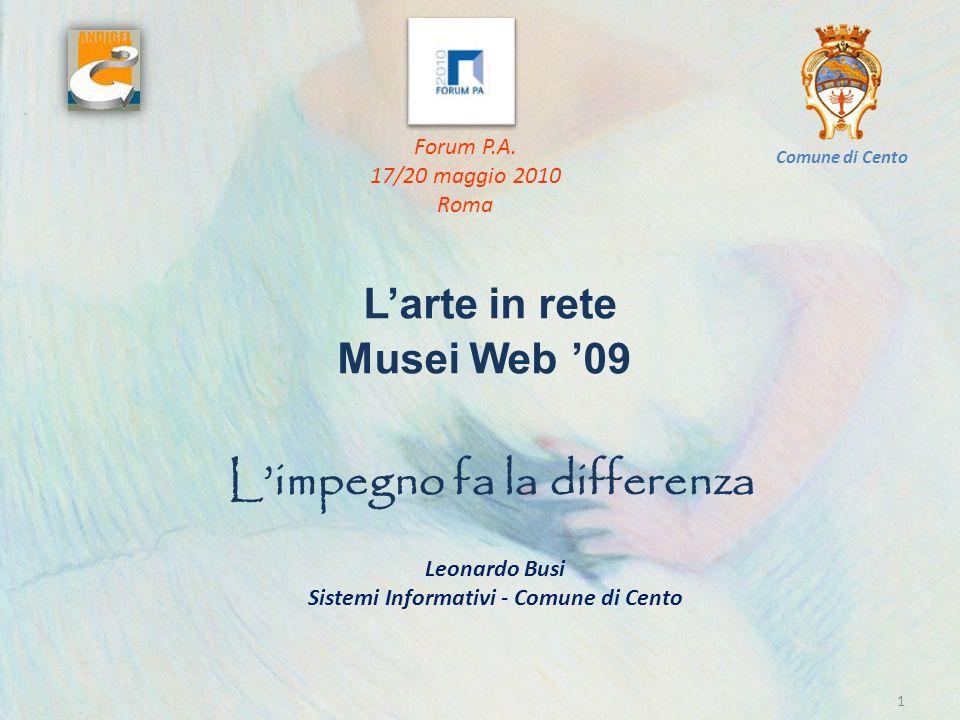 IL LAVORO LESPERTO DI INFORMATICA MESSA IN OPERA E PERSONALIZZAZIONE STRUMENTO INFORMATICO USABILITA, ERGONOMIA E PUBBLICAZIONE INSERIMENTO DATI 12 Leonardo Busi Sistemi Informativi - Comune di Cento Larte in rete Musei Web 09