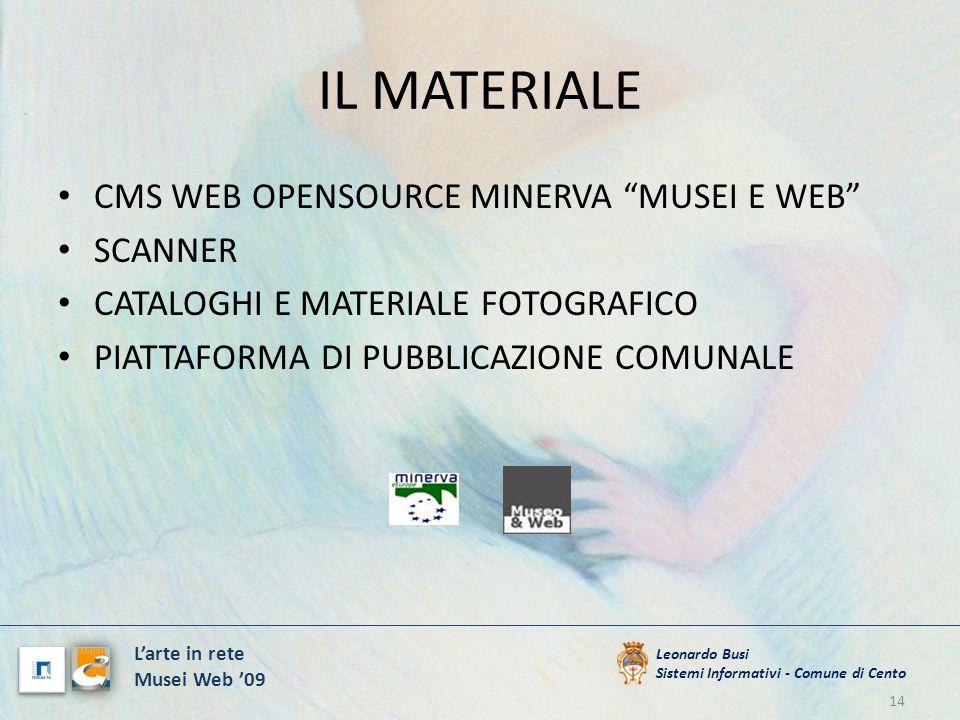 IL MATERIALE CMS WEB OPENSOURCE MINERVA MUSEI E WEB SCANNER CATALOGHI E MATERIALE FOTOGRAFICO PIATTAFORMA DI PUBBLICAZIONE COMUNALE 14 Leonardo Busi S