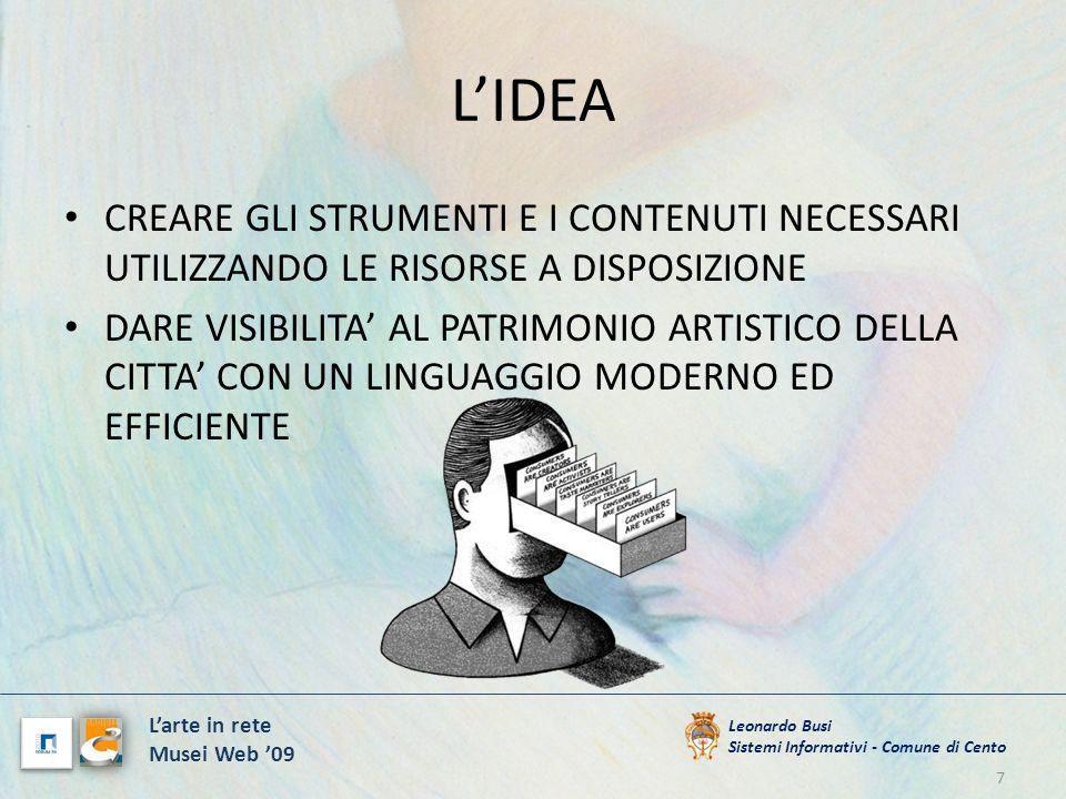 LIDEA 7 Leonardo Busi Sistemi Informativi - Comune di Cento Larte in rete Musei Web 09 CREARE GLI STRUMENTI E I CONTENUTI NECESSARI UTILIZZANDO LE RIS