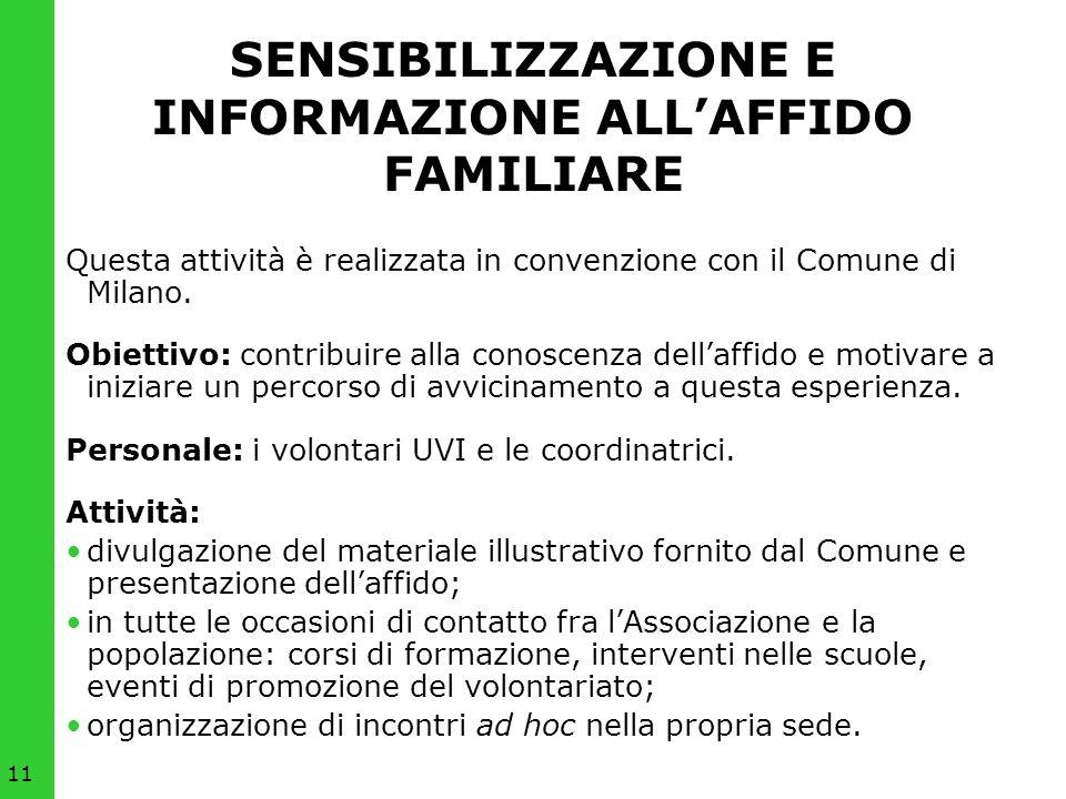 11 SENSIBILIZZAZIONE E INFORMAZIONE ALLAFFIDO FAMILIARE Questa attività è realizzata in convenzione con il Comune di Milano. Obiettivo: contribuire al