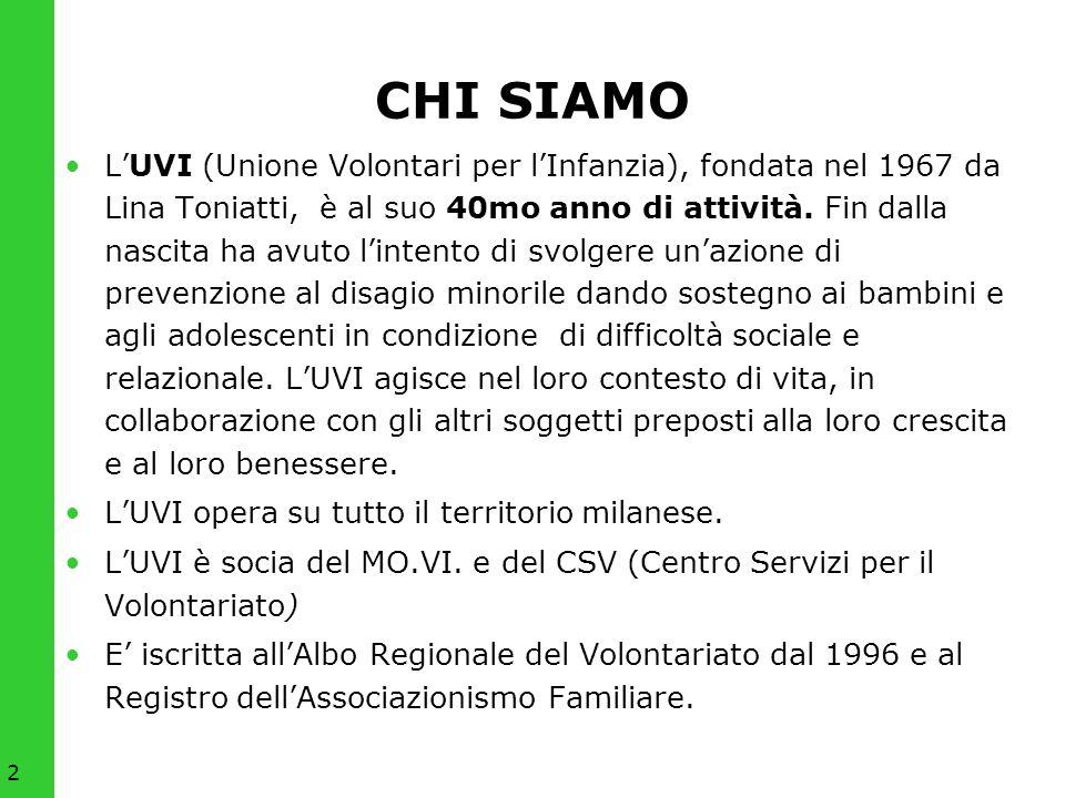 2 CHI SIAMO LUVI (Unione Volontari per lInfanzia), fondata nel 1967 da Lina Toniatti, è al suo 40mo anno di attività. Fin dalla nascita ha avuto linte