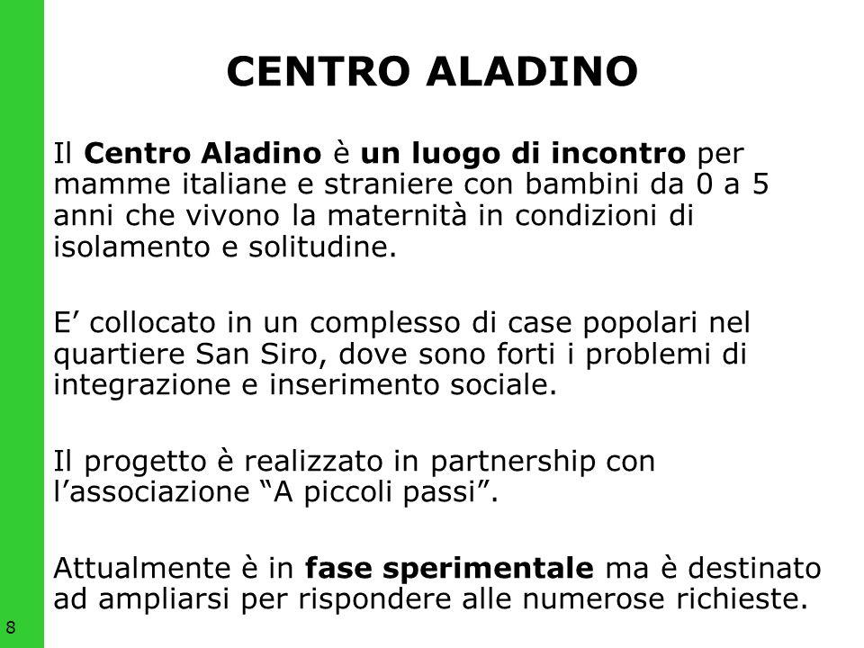 8 CENTRO ALADINO Il Centro Aladino è un luogo di incontro per mamme italiane e straniere con bambini da 0 a 5 anni che vivono la maternità in condizio